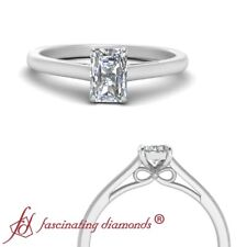 .50 Carat Radiant Cut Diamond Bow Design Cathedral Solitaire Engagement Ring