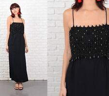 Vintage 60s Lace Cocktail Dress Beaded Maxi Gown Party XXS