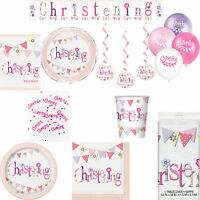 Girls Pink Christening Party Flag Themed Celebration Tableware And Decorations