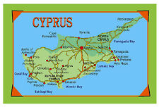 CYPRUS MAP - SOUVENIR NOVELTY FRIDGE MAGNET - SIGHTS - NEW / GIFT