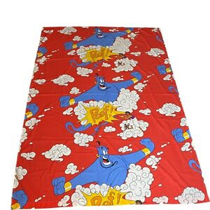 Vintage Aladdin Twin Flat Sheet Disney Red Cotton Blend 65 X 91 Inches No Tag