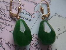 große Smaragd Ohrhänger Gold 585, Ohrhänger Gold 585 mit Smaragd Tropfen 18 mm