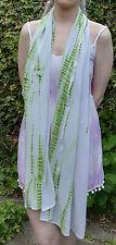 Large White & Green Tie-Dye Vintage Indian Sari Chiffon Shawl Wrap Scarf Boho