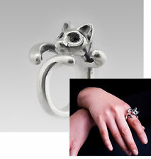 A Silver Tone Cute Cat Shaped Finger, Thumb, Toe Ring, Adjustable and Resizeable
