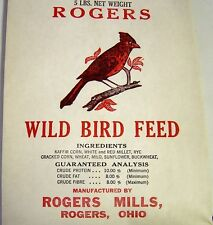 Vintage 5 lb Paper Wild Bird Feed Bag/Sack   Rogers   Rogers Mills   Rogers OH