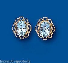 Topazio Blu Orecchini Grande Ovale Borchie Oro Giallo Azzurro