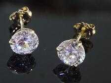 333 Gold Ohrstecker  1 Paar 5 mm Zirkonia Steine gefasst mit 3 Krappen Ohrringe