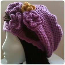 Original Crochet Pattern for Slouchy Hat with Flowers (0015) - Size: Teen-Adult