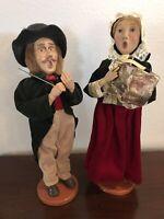 "Vintage Pair Christmas Carolers Man Woman Statues Victorian 13"""