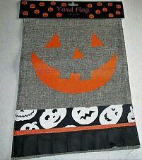 "Halloween Flag 12"" x 18"" Jack O Lantern Smiling Face Burlap Material Flip Flag"