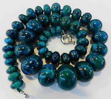 10-20mm Azurite Chrysocolla Gemstone Abacus Beads Necklace