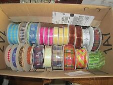 """Huge Lot of Ribbon, 5/8"""" Up To 1.5"""", 26 rolls (16 new, 25 Yd Rolls), $300+"""