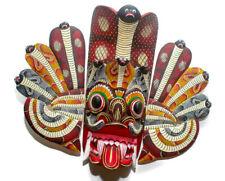 "Amazing Large Handmade Wood Wall Hanging Sri Lankan Cobra Mask Collectible 14"""