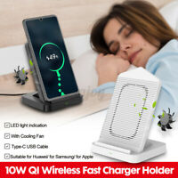 10W Wireless Fast Charger Stand Holder Double Coil With Cooling Fan For    !!