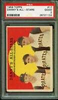Ted Kluszewski Card Danny's All-Stars 1959 Topps #17 PSA 2