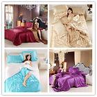 4Pcs New Silk Blend Duvet Cover Sets Bedding Set Solid Color Bed Sheets Cover