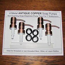 4 Soap Dispenser Pump Replacement Antique Copper for Wine Jack Daniels Bottles