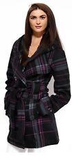 Ladies Fleece Jacket Duffle Style Hooded Toggle Check Pocket Coat Navy