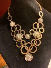 Tone Rhinestone Statement Lot kg Stunning! Amrita Singh Bib Necklace Gold