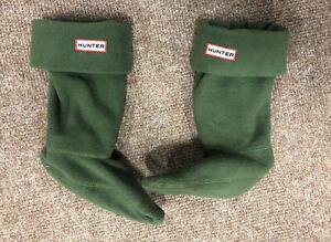 Hunter Fleece Welly Socks, Khaki Green, Size S - UK Size 1-3, Genuine, Short