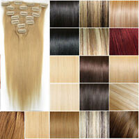 New Women's 7PCS Clip in Remy Human Hair Extensions Straight Any Color&Length