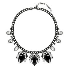 Statement Black Necklace Floral Jewel Gothic Glam Chunky Modern Bib | FREE P&P