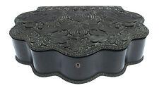 Anglo Indian Ceylon Ebony Box Large Masterfully Carved 1850 Antique Sri Lanka