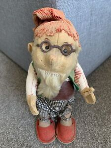 """ANTIQUE RARE 9"""" SCHUCO YES NO MECHANICAL GNOME ELF DOLL C 1920! Tattered"""