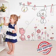 Wall Sticker For Baby Girls Kids Rooms Pink Cartoon Cat Rabbit Flower Home Decor
