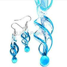 Aqua Swirl Handmade Lampwork Murano Glass Pendant Ribbon Necklace Earrings Set