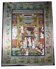 """47"""" Antique Mughal Indian Painting Pigment Silk Traditional Folk Art Officials"""