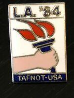 Vintage Collectible LA '84 TAFNOT Olympic Track USA Colorful Metal Pinback