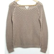 Ann Taylor LOFT factory womens sweater MP brown open knit pullover long sleeve