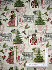 Vintage Postcard Ladies Victorian Tree Christmas Cotton Fabric Traditions - Yard