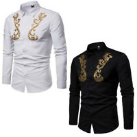 Vogue Mens Spring Gold Sequins Lapel Long Sleeve Shirts Gentleman Tops Dress Hot