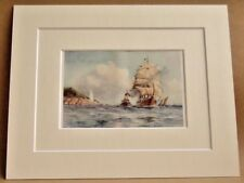 FALMOUTH ST. ANTHONY'S LIGHTHOUSE VERY RARE ANTIQUE DOUBLE MOUNTED PRINT 1908