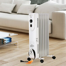 1500W Home Electric White Oil Filled Radiator Space Heater 7-Fan Wheels Thermost