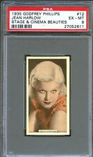 1935 Stage & Cinema Beauties Card #12 JEAN HARLOW Actress Blonde Bombshell PSA 6