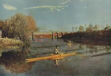 1959 Rowing Thomas Eakins Vintage Lithograph Max Schmitt In A Single Scull #S9
