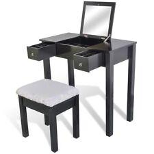 Black Luxury 2 Drawer Dressing Table Jewellery Cabinet Mirror Stool Makeup Set
