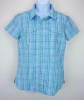 The North Face Women's Medium Plaid Button Down Shirt Short Sleeve Hiking Vented