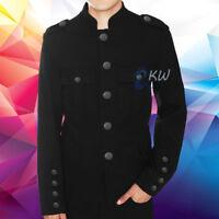 Tripp Men's Band Leader Military Jacket Black Goth Steampunk Vintage Pea Coat