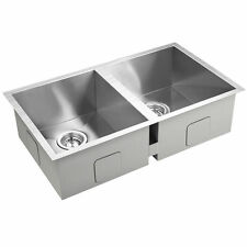 Stainless Steel Double Kitchen Laundry Sink with Strainer Waste 770 x 450 mm