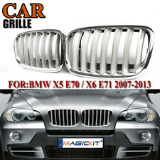 2x Silver Front Hood Sport Bumper Kidney Grille For BMW E70 X5 E71 X6 2007-2013