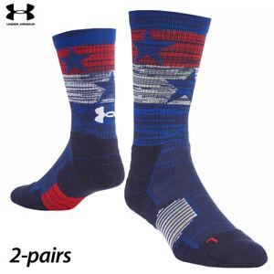 UA Socks: 2-PAIR Unrivaled 2.0 Stars & Stripes Crew (L) Royal