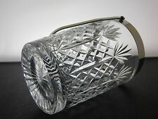 Vintage Thomas Webb Crystal Cut Glass Ice Bucket Cooler silver plated handle