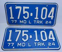 Set Vintage 1977 Missouri license plate Set License Tag Plates Chevy Ford Truck