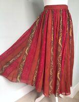 LAURA ASHLEY Vtg 90s Red Orange Silk Baroque Print Flared Midi Skirt UK 8 Floaty