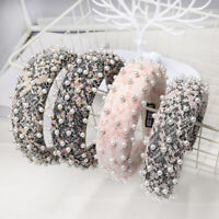 Womens Pearl Sponge Padded Headband Hairband Soft Wide Hair Hoop Accessories