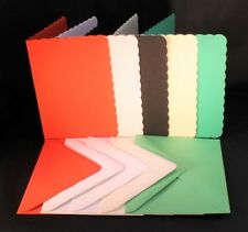 A6  COLOURED CARD BLANKS, SCALLOP EDGED & MATCHING C6 ENVELOPES